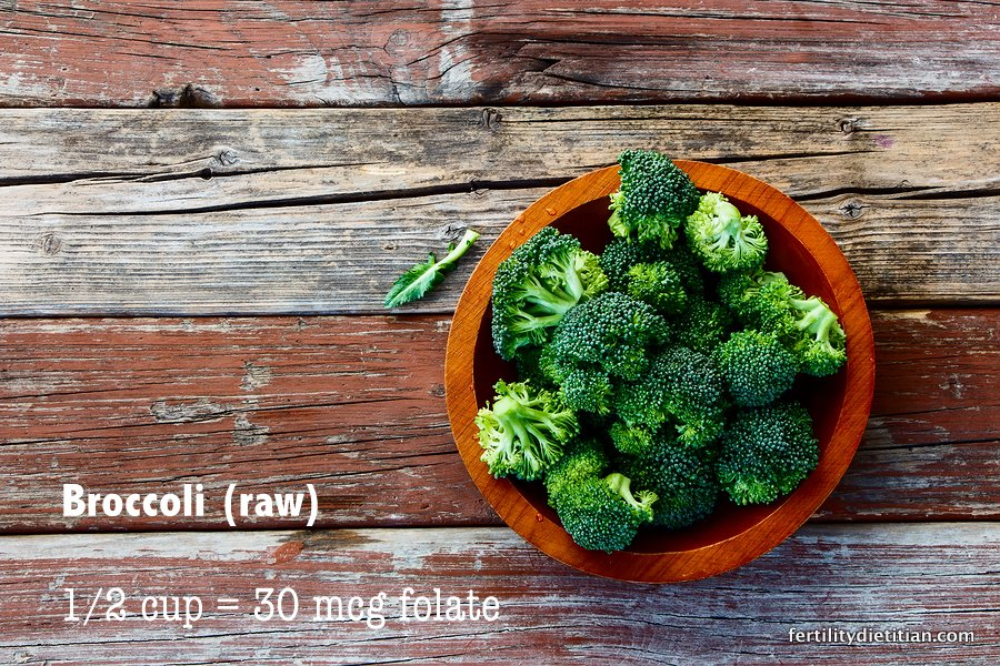 Broccoli is a source of dietary folate needed for fertility and a healthy pregnancy.